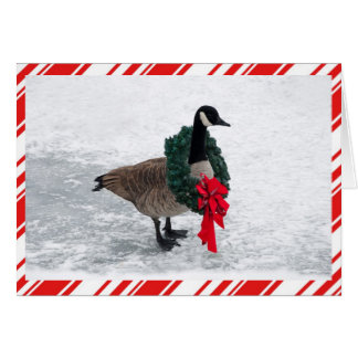 Funny Christmas Goose with Wreath Card