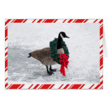 Funny Christmas Goose with Wreath Greeting Card