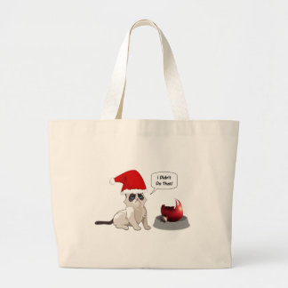 Funny Christmas Grumpy Kitten Jumbo Tote Bag