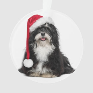 Funny Christmas Havanese Dog With Santa Hat Ornament