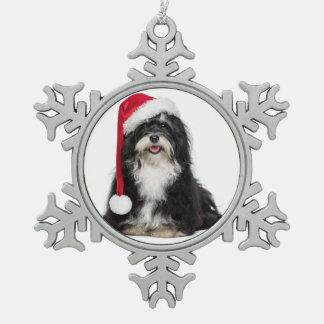 Funny Christmas Havanese Dog With Santa Hat Pewter Snowflake Decoration