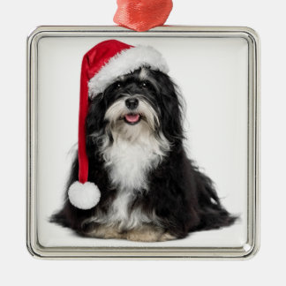 Funny Christmas Havanese Dog With Santa Hat Silver-Colored Square Decoration