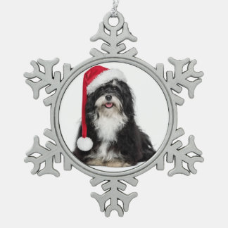 Funny Christmas Havanese Dog With Santa Hat Snowflake Pewter Christmas Ornament