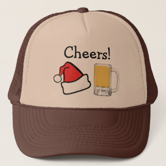Funny Christmas Holiday Cheers Santa Beer Trucker Hat