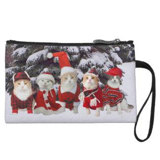 Funny Christmas Kitties Mini Clutch Wristlet Purse