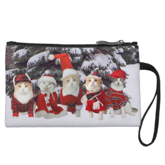 Funny Christmas Kitties Mini Clutch Wristlet Purse