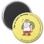 Funny Christmas Magnet: Global Warming and Santa