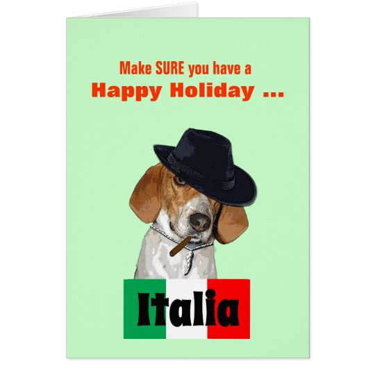 Funny Christmas Mobster Charley Dog Greeting Card