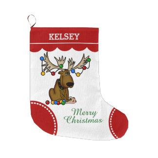 Funny Christmas Moose Large Christmas Stocking
