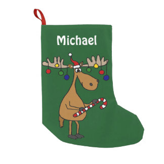 Funny Christmas Moose Stocking