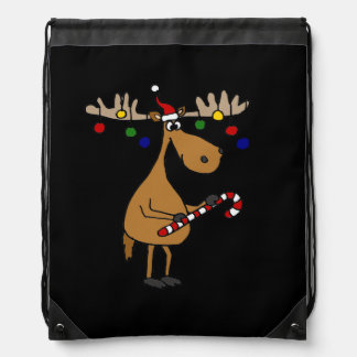 Funny Christmas Moose with Ornaments Drawstring Bag