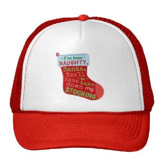Funny Christmas Naughty Stocking Santa Claus Joke Cap