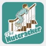 Funny Christmas Nutcracker Square Stickers