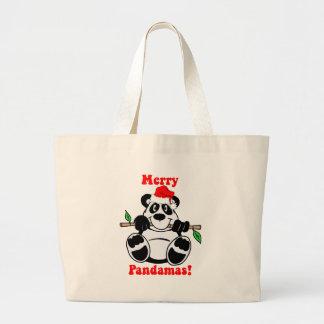 Funny Christmas Panda Bear Canvas Bag