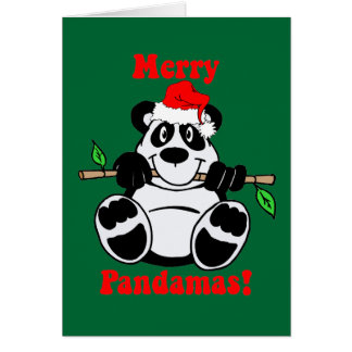 Funny Christmas Panda Bear Greeting Card