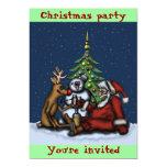 Funny Christmas party cartoon art invitation card