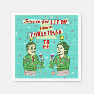 Funny Christmas Party Retro Adult Drinking Holiday Paper Napkin