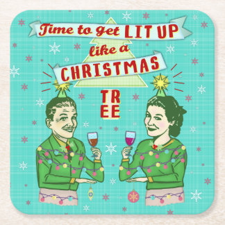 Funny Christmas Party Retro Adult Drinking Holiday Square Paper Coaster