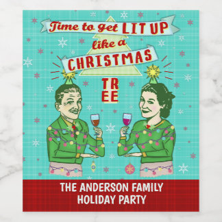 Funny Christmas Party Retro Adult Drinking Holiday Wine Label