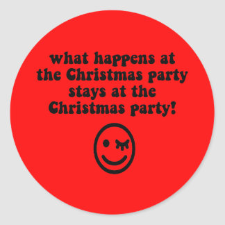 Funny Christmas party Round Stickers