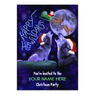 Funny Christmas Party Ugly Sweater Wolf Pun Card