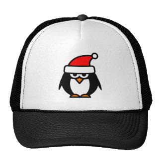Funny Christmas penguin cartoon Santa Claus hat