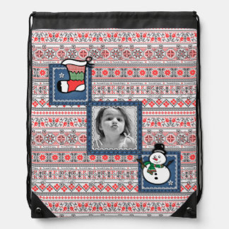 Funny Christmas photo bag with songs & videos Drawstring Backpacks