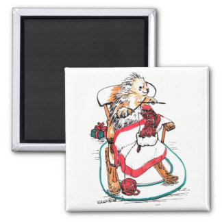 Funny Christmas Porcupine Knitting Stocking Magnet
