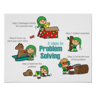 Funny Christmas Poster: Elves at problem solving Poster