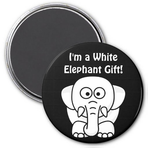 Funny Christmas Present: Real White Elephant Gift! 7.5 Cm Round Magnet