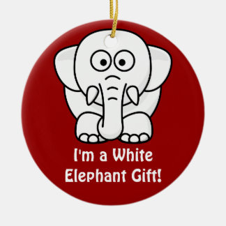 Funny Christmas Present: Real White Elephant Gift! Round Ceramic Decoration