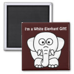 Funny Christmas Present: Real White Elephant Gift! Square Magnet