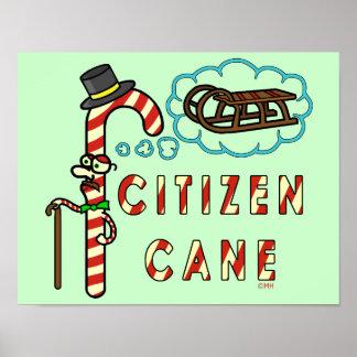Funny Christmas Pun Citizen Cane Poster