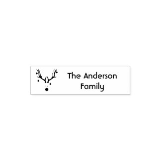 Funny Christmas reindeer head family name Self-inking Stamp