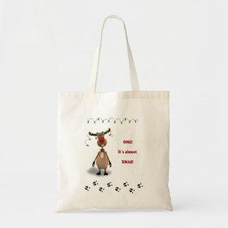 Funny Christmas Reindeer Illustration - Bag