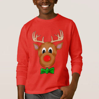 Funny Christmas Reindeer with Bowtie T-Shirt