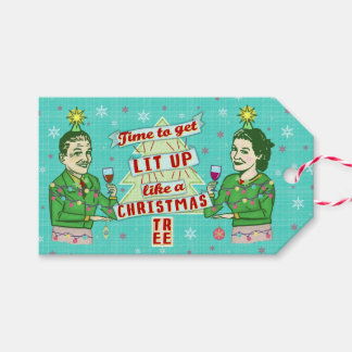 Funny Christmas Retro Drinking Humor Couple Lit Up Gift Tags