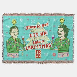 Funny Christmas Retro Drinking Humor Couple Lit Up Throw Blanket