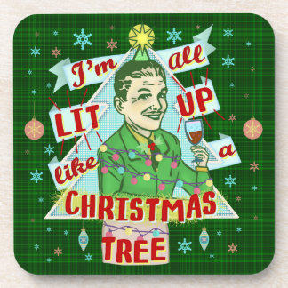 Funny Christmas Retro Drinking Humor Man Lit Up Coaster