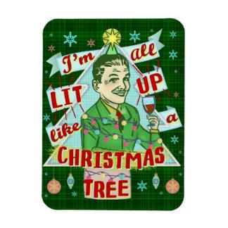 Funny Christmas Retro Drinking Humor Man Lit Up Magnet