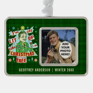 Funny Christmas Retro Drinking Humor Man Lit Up Silver Plated Framed Ornament