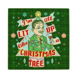 Funny Christmas Retro Drinking Humor Man Lit Up Wood Coaster