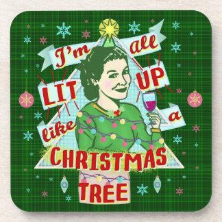 Funny Christmas Retro Drinking Humor Woman Lit Up Coaster