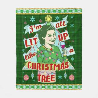 Funny Christmas Retro Drinking Humor Woman Lit Up Fleece Blanket