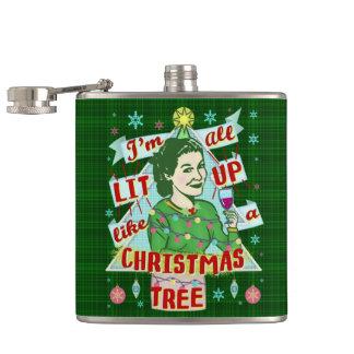 Funny Christmas Retro Drinking Humor Woman Lit Up Hip Flask