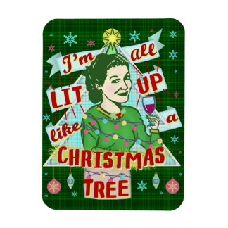 Funny Christmas Retro Drinking Humor Woman Lit Up Magnet
