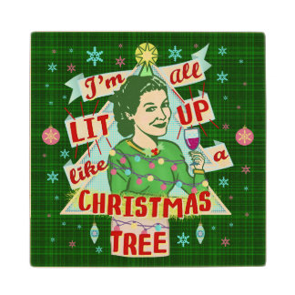 Funny Christmas Retro Drinking Humor Woman Lit Up Wood Coaster