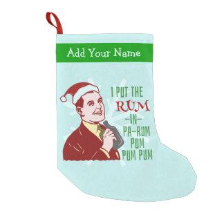 Funny Christmas Retro Rum Drinking Man Holiday Small Christmas Stocking