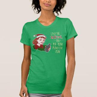 Funny Christmas Retro Rum Drinking Woman Holiday Tshirts