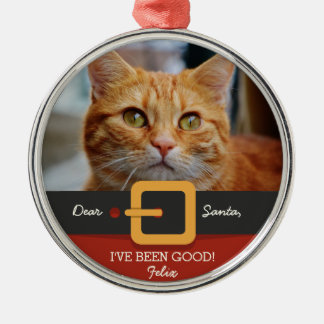 Funny Christmas Santa Cat Photo and Name Custom Christmas Ornament